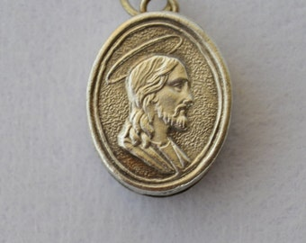 French Religious Reliquary Pendant Medal Locket Jewelry - Jesus Christ Angels - Relic Medallion - Communion Gift
