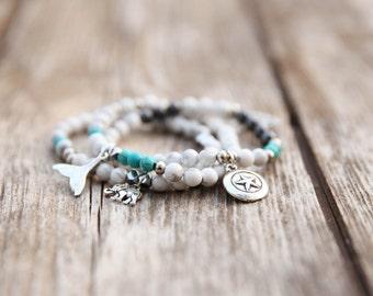 Gemstone Stretch Bracelet, white Bracelet, Beaded Bracelet, Beaded Stacking Bracelet, Stretch Bracelet, Elastic Bracelet, Stacking Bracelets