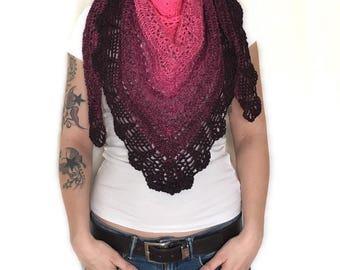 Crochet scarf, pink cloth, Pinker scarf, pink shawl