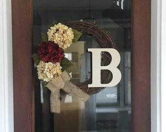 Burgundy Rustic Hydrangea Wreath, Front Door Wreath, Initial Decor, Front Door Decor, Front Porch Decor, Burlap Wreath, Wreath with Bow