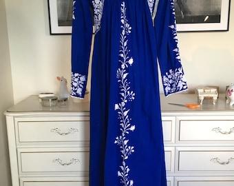 Ethnic Boho 60s 70s tunic dress sz xs small royal blue