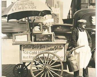 old street sepia photography vintage Hot Dog Stand Trader Manhattan 1936 - vintage reproduction