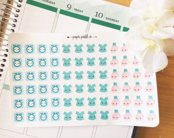 Kawaii Laundry Day, Planner Stickers
