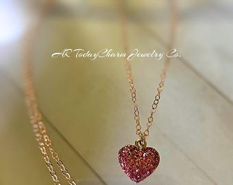 Pink Glitter Heart Pendant Necklace