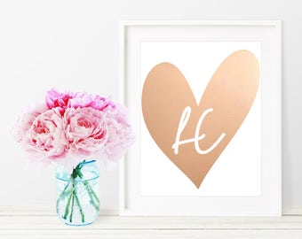 Letter Print / Rose Gold Foil Print / Monogram Nursery / Baby Girl Nursery Decor / Baby Girl Nursery Art / Personalized Print / Custom Sign