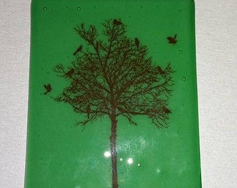 Birdy tree drawing fused glass picture