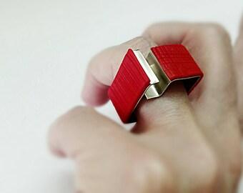 square architectural ring.contemporary geometric ring.red geometric ring.statement geometric ring.red statement ring.unique geometric ring.