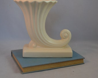Vintage McCoy Pottery Matte White Cornucopia Vase