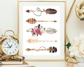 Tribal Arrows printable, nursery art print, boy nursery printable, watercolor arrows, Tribal nursery print, Boho wall art, Floral Arrows