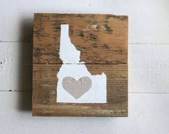 idaho state love sign - fenceboards - white on natural - home decor - wall art