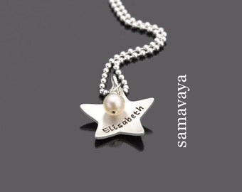 Children necklace shooting star 925 Silver chain with engraved children's jewellery