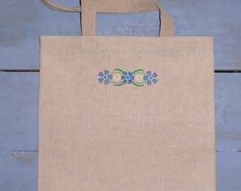Embroidered linen tote bag, Shoulder bag cornflowers and Daisys, handmade bag, A unique gift, eco bag, reusable Cotton Linen Shopping Bag