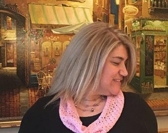 Pink Tussah Silk & Merino Wool Cowl
