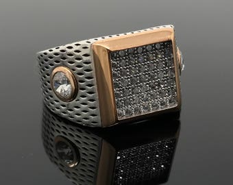 Beautiful 925K Sterling Silver Zircon Stones Men's Ring - A nice gift for him