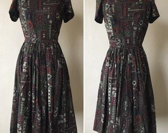 1950s Travel Novelty Print Dress