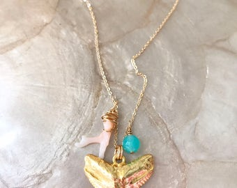 Surfer Girl Necklace: shark tooth necklace, charm necklace, gold fill, beach jewelry, mermaid jewelry, tropical, sparkle, ocean necklace