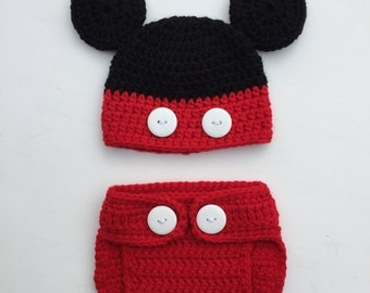 Mickey Mouse Inspired Crochet Hat & Diaper Cover Set, Mickey Mouse Baby Outfit, Newborn Outfit,Diaper Cover Set,Mickey Infant Hat and Diaper
