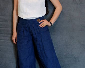 Navy Blue Wide Linen Pants, Handmade Trousers, Natural Fabric, Woman Fashion, Casual Clothing, Sustainable fashion