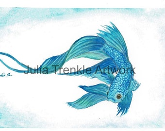Blue Betta Fish Original Watercolor Painting