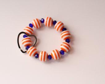 Beach Blanket Keychain Bracelet (Orange Stripe & Blue)