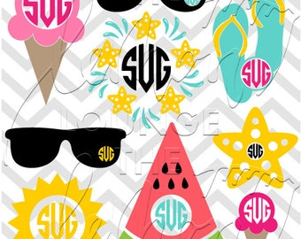 Summer Monogram svg, 9 Summer monogram svg, beach svg, sunglasses monogram svg, monogram cut file, starfish svg, sun svg, commercial use OK,