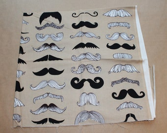 Fabric remnant - mustache or moustache  - alexander henry