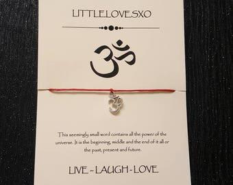 Om bracelet, yoga bracelet, namaste gifts, ohm bracelet, silver om bracelet, wax cord bracelet, gift for her, gift for him, yoga jewellery