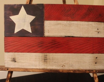 Rustic Wood Single Star American Flag