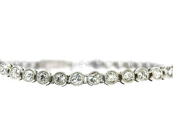 River diamond bracelet white gold 18K, crimped diamonds
