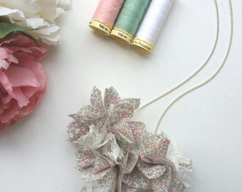 Chiffon and Lace Flower Necklace - Liberty Print - Handmade Fabric Jewellery - Floral Bib Necklace - Bridal Jewellery - Best Friend Gift