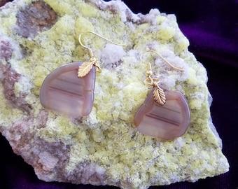 Agate earrings , polished