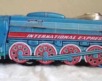 Vintage Tin Friction Train International Express Tin Litho Toy