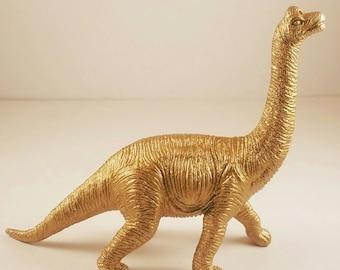 Gold dinosaur figurine //  alternative wedding cake topper // funky home or office decor