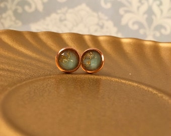 Mint with gold flecks gold or rose gold stud earrings