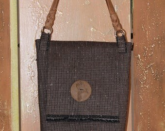 Brown Vinyl Textile Bucket Bag