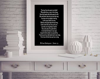Shakespeare Quote, Love Poem, Shakespeare Wall Art, Bedroom Decor, Love Poetry Art, Sonnet 73, That Time Of Year Thou Mayst In Me Behold