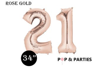 SHIPS FAST - Giant Rose Gold Number 21 Balloons, Rose Gold Balloons, 21st Birthday Balloons, Giant Number Balloons, Big Number Balloons