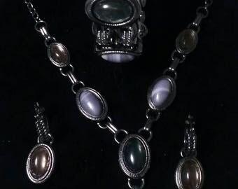 Moonglow Full Parure necklace bracelet earrings set