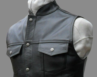 Classic leather motorcycle biker vest handmade