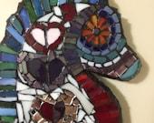 Mosaic 'Seahorse Love' Wall Art