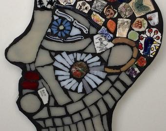 Mosaic 'Thoughtful  Mind' Head' Wall Art