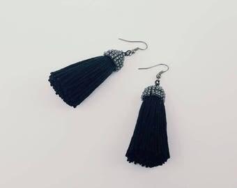 Rustic black tassel earrings with beaded caps