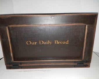 Primitive Country Large Wood Breadbox Storage