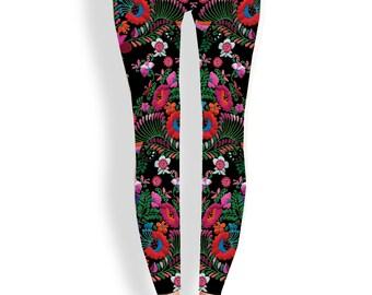 Floral yoga leggings-Mexican, embroidery, hippie, mandala, festival, boho, art leggings, aztec, yoga