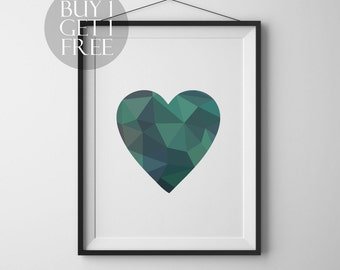 Geometric heart Printable heart poster Modern decor Wall art Love Heart Modern print Geometric poster Heart print Love printable poster