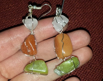 Rainbow Moonstone, carnelian, and Jade Earrings