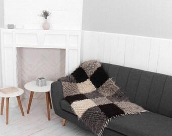 wool throw blanket gray, plaid handmade, sofa cover,  wool throw blanket, hand woven throw, chunky blanket, chair blanket Modern home decor
