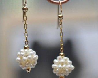 Woven Pearl Cluster Gold Dangle Earrings