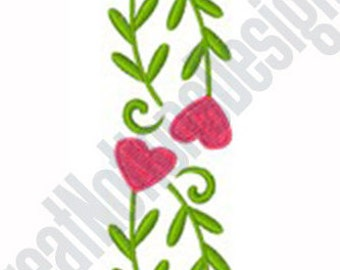 Heart Floral Border -Machine Embroidery Design