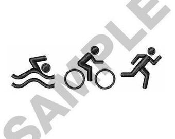 Triathlon Logo - Machine Embroidery Design